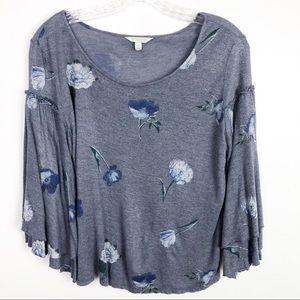Lucky Brand Bell Sleeve Floral Shirt blue Size Xs